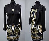 """Женское платье в стиле """"обманка-пиджак""""  Креп-трикотаж 42, 44 размер норма"""