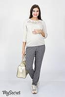 Трендовые брюки для беременных BRIONI TR-18.021, серые в молочную полоску, фото 1