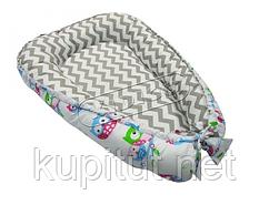 Кокон для новорожденных KIDIGO (Зигзаги-совы) KN-6