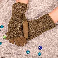 Женские сенсорные перчатки бежевого цвета на меху с вязаными митенками Paidi 76-5 03-beige 7,5