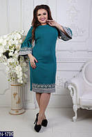Красивое женское платье креп костюмка +отделка кружево  батал, Размер: 50, 52, 54, 56