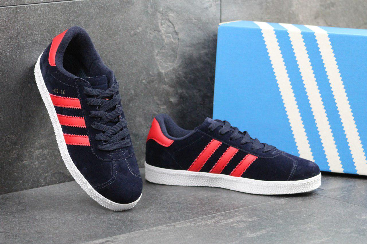 Мужские кеды Adidas Gazelle (темно-синие с красным), ТОП-реплика