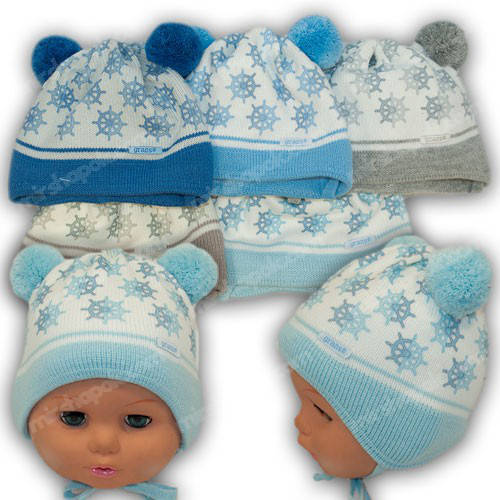 Вязаные шапки для новорожденных мальчиков, р. 36-38