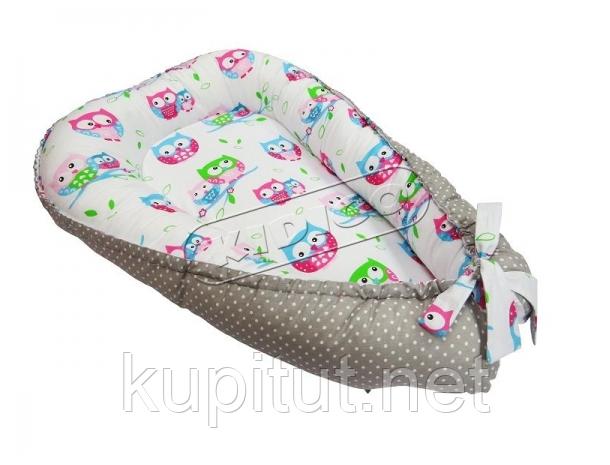 Кокон для новорожденных KIDIGO (Совы-горошек) KN-2