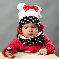 Комплект шапка и хомут весна для девочки с ушками