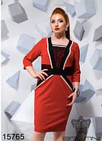 "Стильное женское платье ""ткань креп-дайвинг + гипюр"" кор 50, 52, 54 размер батал"