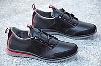 Спортивные туфли, кроссовки натуральная кожа, замша черные мужские 2017 (Код: 511), фото 1