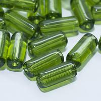 Бусины, стекло, трубка, зеленые, 10х4 мм, 30 шт УТ00026261