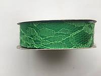 Атласная лента 2.5см с кружевом зеленый