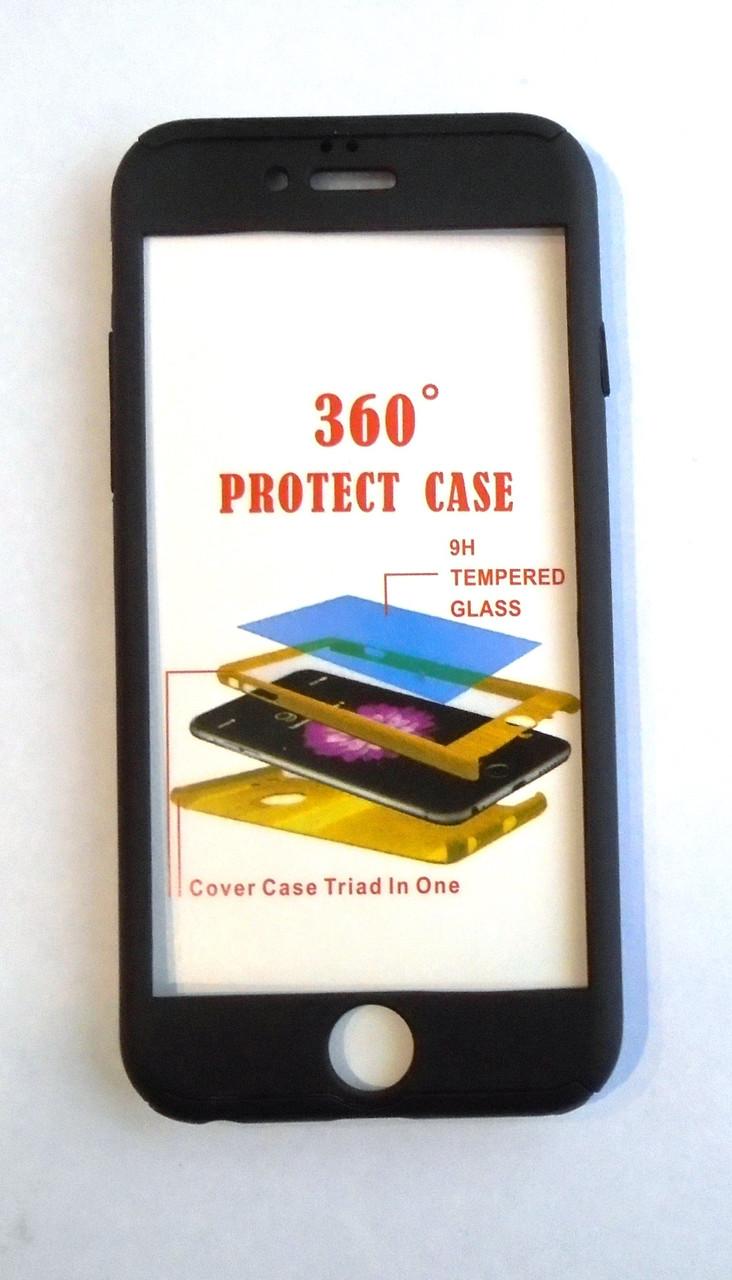 Чехол iPaky 360 градусов для Apple iPhone 5 5S SE + стекло на экран Черный Black