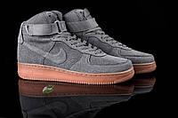 Мужские высокие кроссовки Nike Air Force hight Suede black (аир форс, реплика) (реплика)
