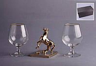 """Набор бокалов для коньяка из 2 шт. 500 мл. подарочный с фигуркой """"Лошадь"""" 13 см."""