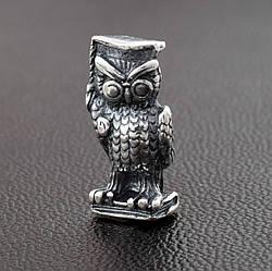 """Серебряный сувенир """"Мудрая сова"""", символ мудрости и знаний, помогает студентам, размер 14*6 мм, вес 2.31 г"""