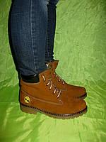 Коричневые зимние ботинки на шнурке (нубук)