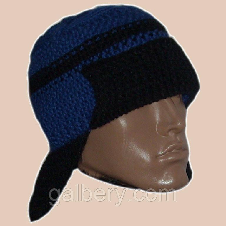 Мужская вязаная зимняя шапка - ушанка сине - василькового цвета