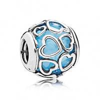 Подвеска-шарм Влюбленный, небесно голубой кристалл
