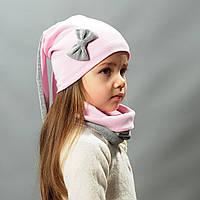 Комплект шапка и хомут весна осень для девочки с ушками Зайка