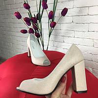 Туфли женские с открытым носком на толстом каблуке