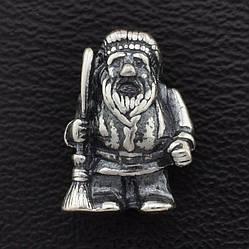"""Серебряный сувенир """"Добрый дед домовичок"""", надёжно охраняет дом от всего плохого, размер 13*8 мм, вес 2.46 г"""