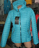 Женская стильная демисезонная бирюзовая куртка(синтепон) (44,54)