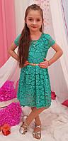 Подростковое платье для девочки Орхидея р.134-152 бирюза