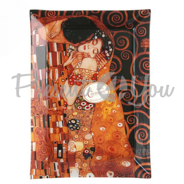 Тарелка cтеклянная Г.Климт «Поцелуй» Carmani, 28х20 см (198-1051)