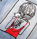 Джинсовая куртка женская с аппликацией на спине, фото 6