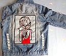 Джинсовая куртка женская с аппликацией на спине, фото 7