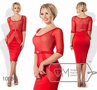 """Изысканное женское платье ткань """"Дайвинг + стрейч-сетка"""" 42, 44, 46 размер норма"""