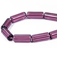 Бусины, стекло, трубка, фиолетовые, 15х6 мм, 20 шт УТ 10006953