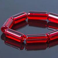 Бусины, стекло, трубка, красные, 15х6 мм, 20 шт УТ 10006951