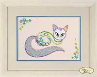 Наборы для вышивки декоративными швами Цветочный кот-1 НШ-001