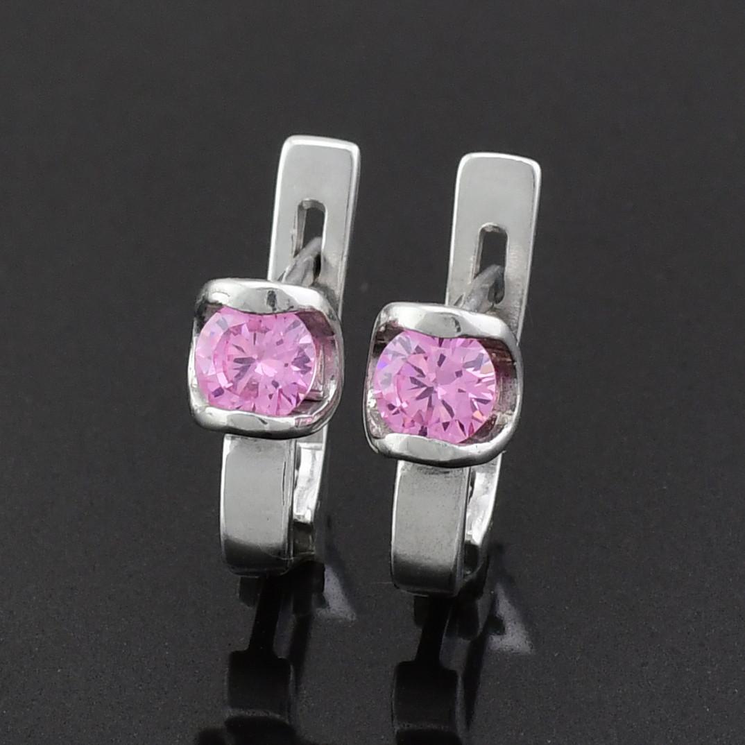 """Серебряные серьги """"Ассоль"""", размер 10*5 мм, вставка розовые фианиты, вес 1.92 г"""