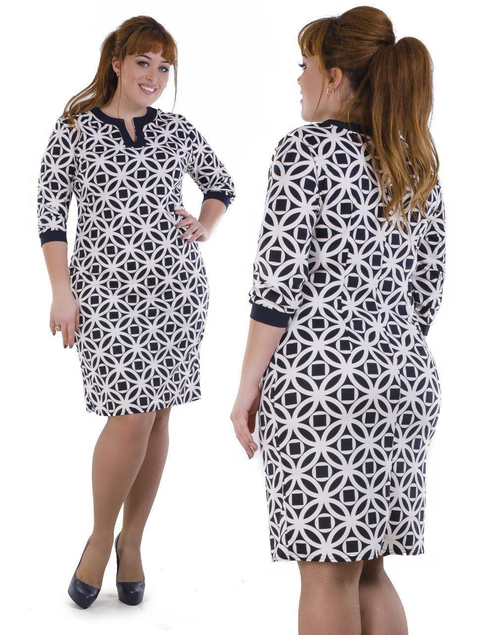 """Приятное женское платье ткань """"Французский трикотаж"""" 50, 52, 54, 56 размер батал"""
