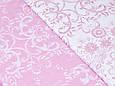 Сатин (хлопковая ткань)  на розовом вензеля, фото 2