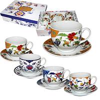 Сервиз чайный 12пр. Золотые цветы микс1 (чашка-220мл, блюдце-13,5см)