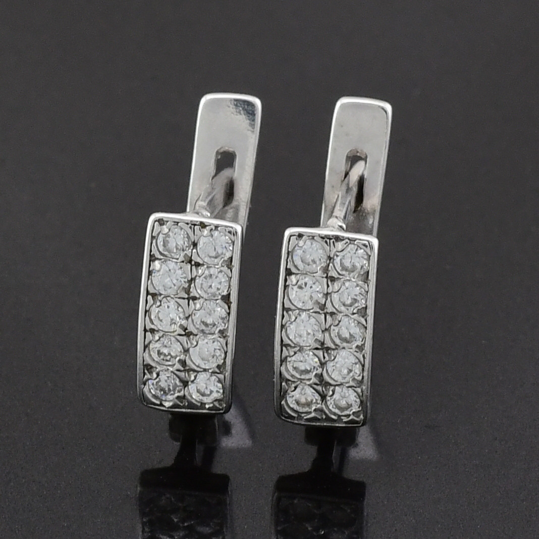 """Серебряные серьги """"Анжела"""", размер 9*4 мм, вставка белые фианиты, вес 1.56 г"""