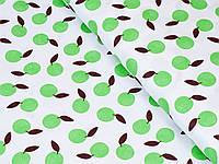 Сатин (хлопковая ткань) зеленые яблоки