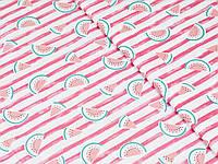 Сатин (хлопковая ткань) арбузики на розовой полосе