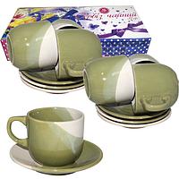 Набор чайный 12пр. зеленый (блюдце-14см,чашка-240мл)