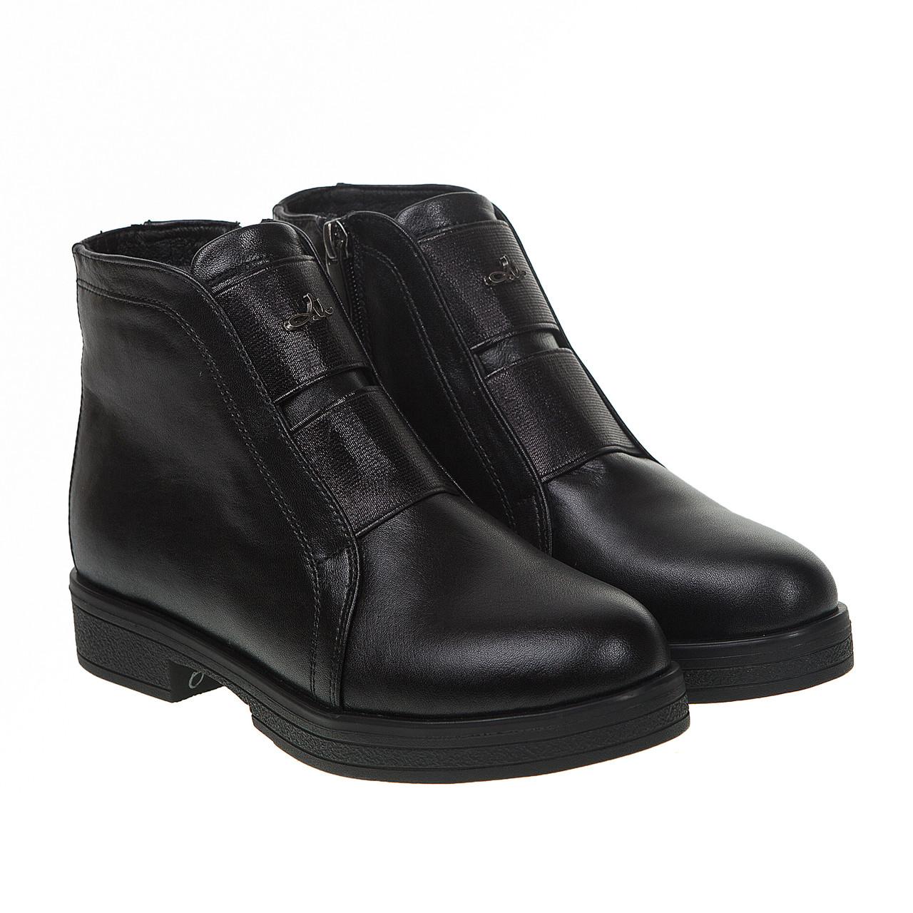 ee6f0d9c Ботинки женские Attico (черные, кожаные, с двумя резинками в передней части)