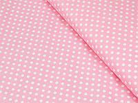 Сатин (хлопковая ткань) белый горох на розовом