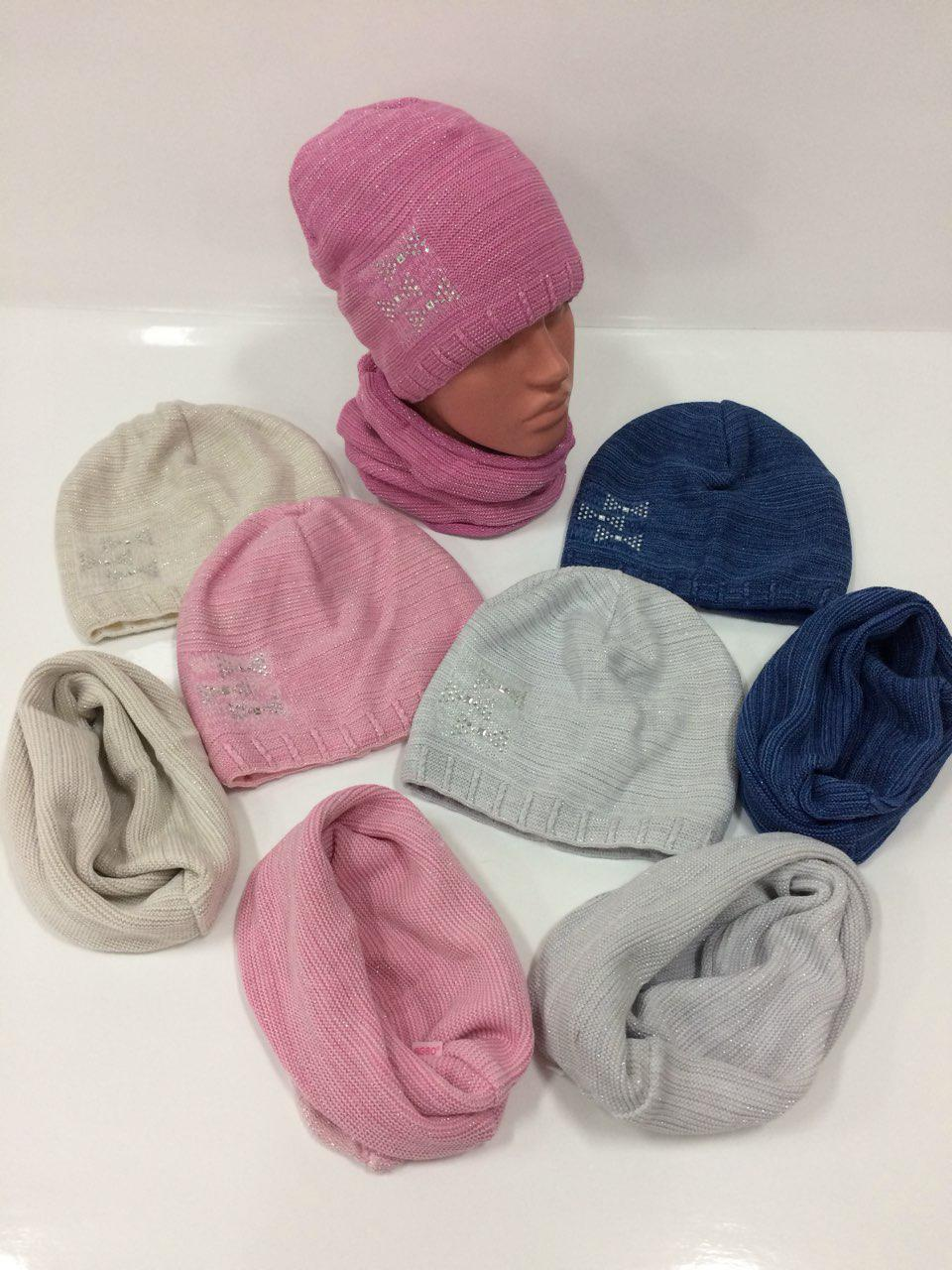 Детские вязаные шапки только оптом со снудом для девочек, р.48-50, Agbo (Польша)