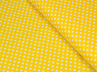 Сатин ( хлопковая ткань) белый горох на желтом
