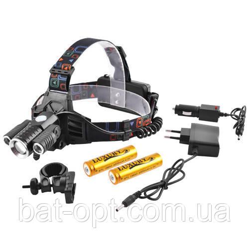 Фонарь налобный + велофара Small Sun 12V W602-T6(zoom)+2 XPE(наклон), 2х18650, ЗУ 12V/220V, комплект
