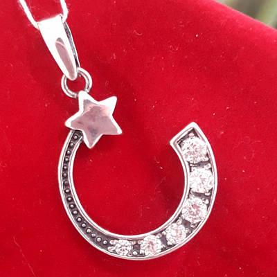Срібна мусульманська підвіска Півмісяць із зіркою - Кулон Півмісяць із зіркою срібло