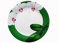 Тарелка 7,5 Белая Орхидея (зеленый ободок) (48)