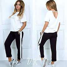 Модные женские брюки из костюмной ткани свободного кроя с лампасами, фото 2