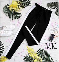 Модные женские брюки из костюмной ткани свободного кроя с лампасами, фото 3