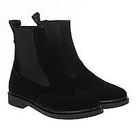 Ботинки челси женские Zlett (черные, замшевые, удобные, практичные, модные)